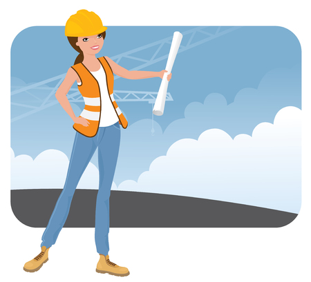 steel toe boots: Female construction worker on site. Illustration