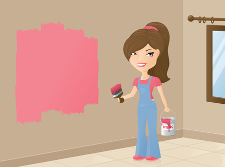 painting and decorating: Woman painting the walls bright pink. Illustration