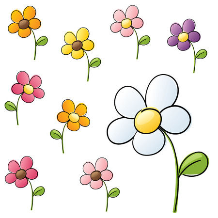 Daisies in different colour schemes.