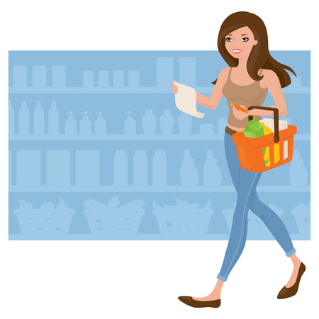 shopping list: Woman doing the grocery shopping.