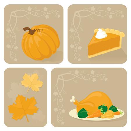 pumpkin pie: Pumpkin, pumpkin pie, maple leaves and turkey.