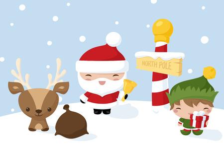 north pole sign: Kawaii Christmas characters at the North Pole. Illustration