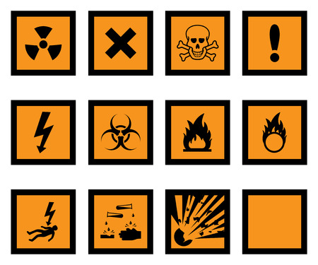explosive sign: Hazard warning icons, with one blank icon for your additions. Illustration