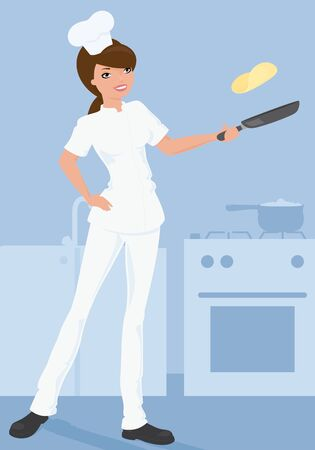 freshly: Chef tossing freshly made pancakes. Illustration