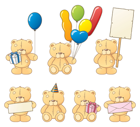 patch of light: Collection of bears in a party mood! Illustration