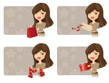 personal shopper: Girl with bag, tag, scarf and credit card.