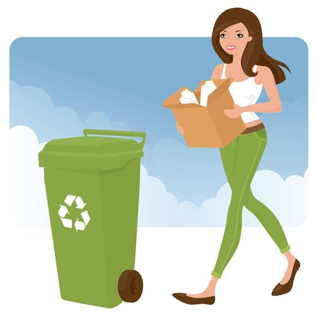 Woman taking out the recycling. Ilustrace