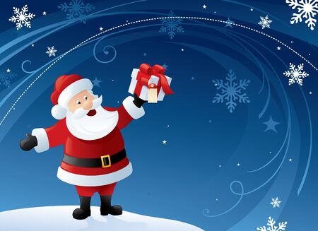 Santa holding a gift with blue and white swirly background.