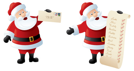 check list: Santa with mail and check list of all the good little kiddies due pressies.
