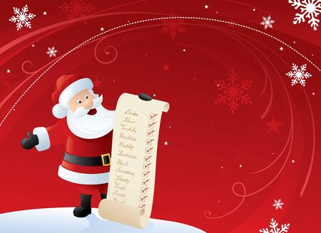 Santa holding his list of good kiddies with a red and white swirly background.