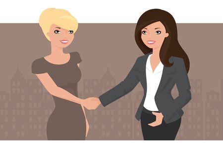 dandose la mano: Dos mujeres de negocios apret�n de manos.