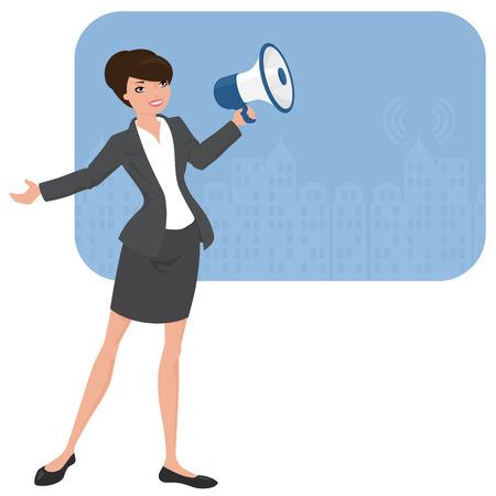 zakelijke vrouw: Business vrouw met een megafoon. Stock Illustratie