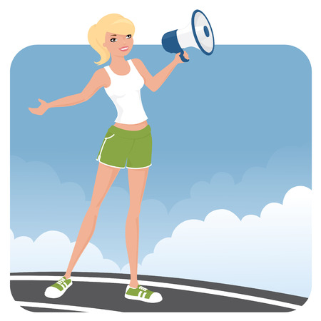 sporty: Sporty woman with a megaphone.
