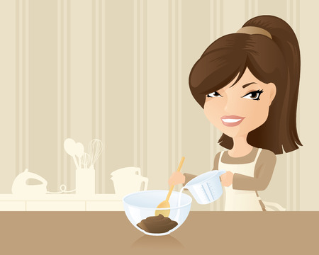 measuring spoon: Woman making a chocolate cake. Illustration