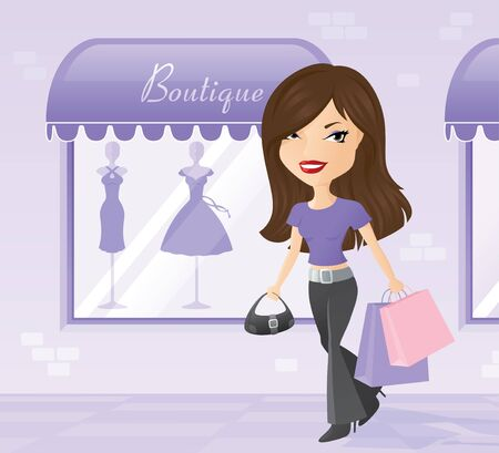 retail therapy: Woman out doing a spot of shopping. Illustration