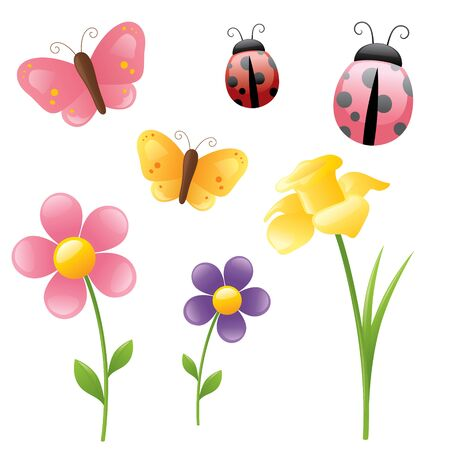 yellow daisy: Spring flowers,butterflies and ladybugs.
