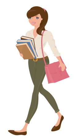studious: Student carrying a pile of books. Illustration