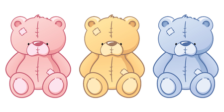 stuffed animals: Pink, blue and brown teddy bears.