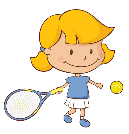 Little girl playing a game of tennis. Illustration