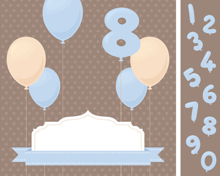 birthday party invitation: Birthday party invitation with balloons. Change the age!
