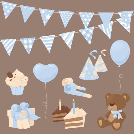 teddybear: Baby boy celebration icons in blue.