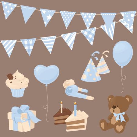 Baby boy celebration icons in blue.