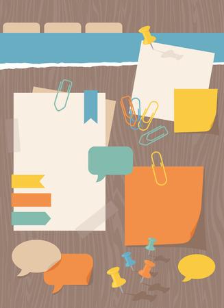 papel de notas: Elementos de diseño de blog, papel, clips y pasadores.