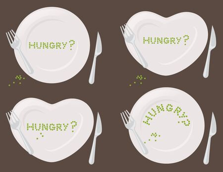 dinner plate: Round and heart shaped plates with peas.
