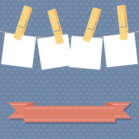copyspace: Invitation with lots of copyspace pegged to a clothesline. Illustration