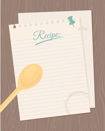 Tarjeta de la receta en blanco para sus creaciones culinarias.