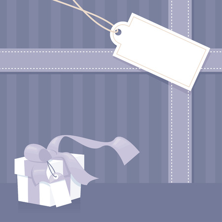 blank gift tag: Invitation in purple with gift, ribbon and tag. Illustration