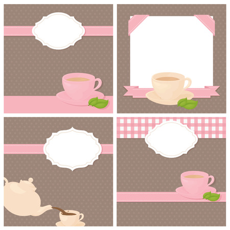 tea leaves: Invitatiions to a tea party with copy space.
