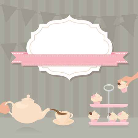 pink ribbons: Tea Party invitation with copy space.