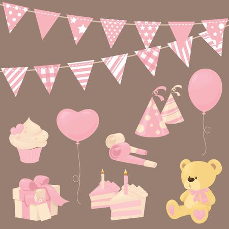 balloons teddy bear: Pink party or shower icons.