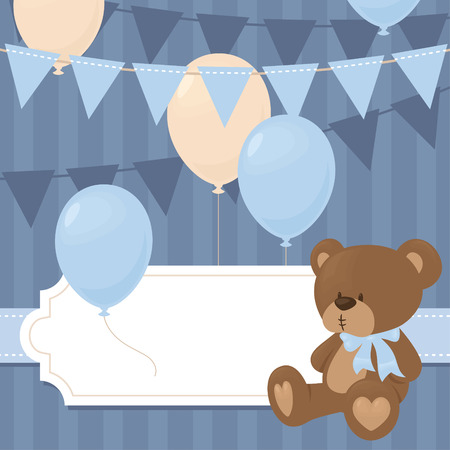 teddybear: Baby shower invitation in blue.