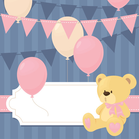 baby bear: Baby shower invitation in pnk.
