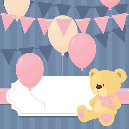 bebes ni�as: Invitaci�n de la ducha del beb� en pnk. Vectores