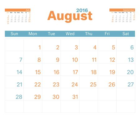monthly calendar: 2016 monthly calendar planner for August.