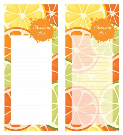 Shopping list pad design with citrus fruit.