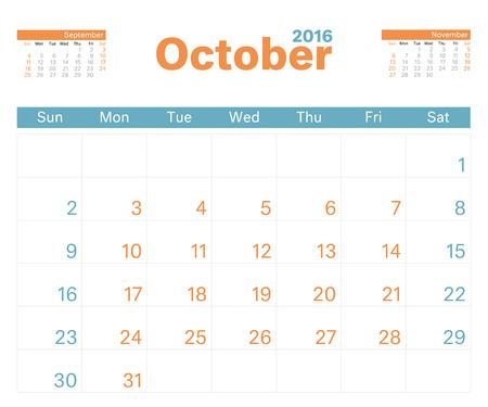 planner: 2016 monthly calendar planner for October.