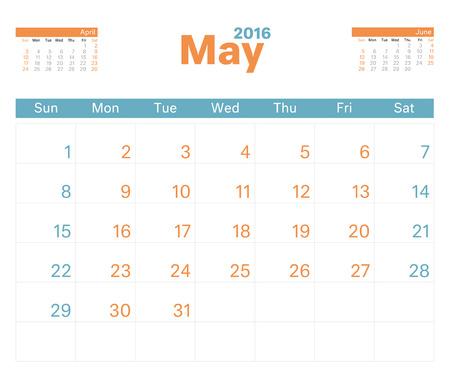 kalendarz: 2016 miesięcznie Planowanie kalendarza na maj. Ilustracja