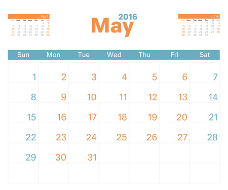 calendar page: 2016 monthly calendar planner for May. Illustration