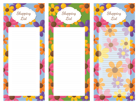 shopping list: Shopping list pad design with flowers.