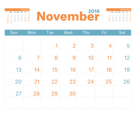 monthly calendar: 2016 monthly calendar planner for November.