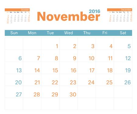 calendario noviembre: 2016 planificador de calendario mensual para noviembre. Vectores