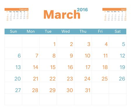 monthly calendar: 2016 monthly calendar planner for March.