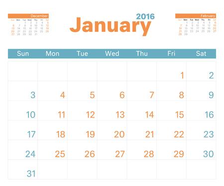 january: 2016 planificador de calendario mensual para enero.
