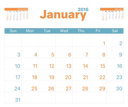 the january: 2016 planificador de calendario mensual para enero.