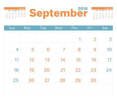september calendar: 2016 monthly calendar planner for September.
