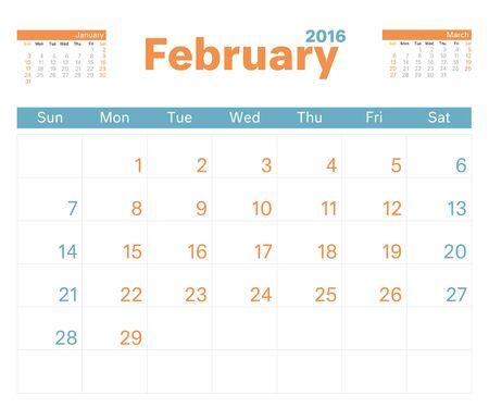 monthly: 2016 monthly calendar planner for February. Illustration